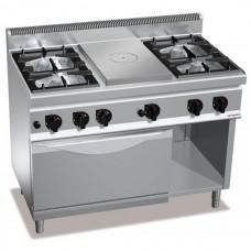 Газовая плита - 21  кВт + жарочная поверхность - 7 кВт  + духовой шкаф - 4 кВт