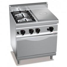 Газовая плита - 10,5 кВт + жарочная поверхность - 7 кВт + духовой шкаф - 4 кВт