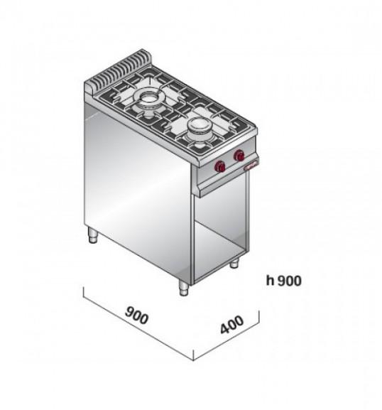 Плита газовая, 2 конфорки - 19 кВт