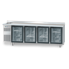 Холодильний стіл зі скляними дверима і раковиною DM-91008