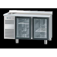 Холодильний стіл зі скляними дверима і раковиною DM-S-91005