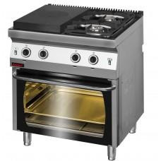 Газова плита з нагрівальною конфоркою - газова духовка 700.KG-2/I-400/PG-2